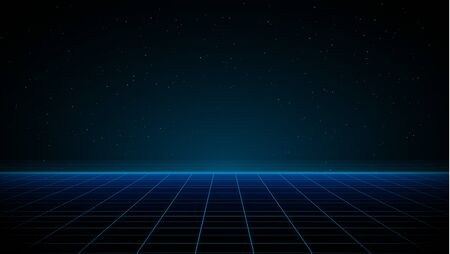 Synthwave vaporwave retrowave cyber background with copy space, laser grid, starry sky, blue glow.