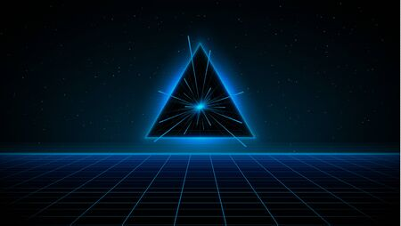 Retrowave synthwave vaporwave blue cyber laser grid with blue glowing triangle portal with speed rays in starry space. Vectores