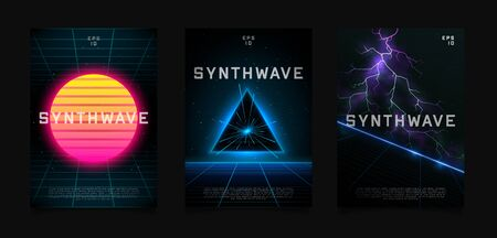 Synthwave flyer design. Retrowave sun on starry space background with laser grid. Triangle blue neon portal in space. Slope laser grid with glowing horizon in space with bright lightnings.