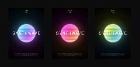 Synthwave templates flyer design. Retrowave style striped sun with colorful glowing in starry space. Vaporwave, synthwave, retrowave illustration for poster, banner, flyer etc.