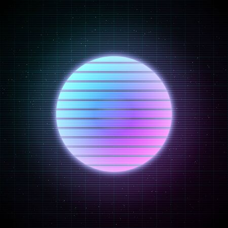Retrowave style striped sun with blue and pink glowing in starry space with laser grid. Vaporwave, synthwave, retrowave illustration for poster, banner, flyer etc. Illustration