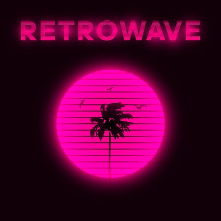 Synthwave style striped pink sun with silhouette of miami palm tree and seagulls.