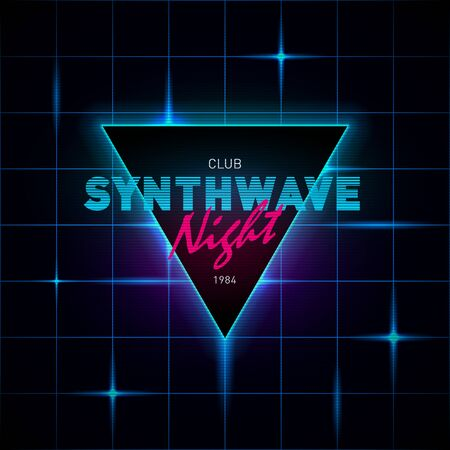 Synthwave retrowave triangle with blue and pink glowing on dark background with glowing blue laser grid.