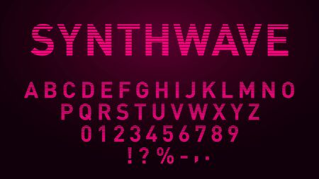 Synthwave pink font in 1980s style. Retrowave striped letters, numbers and symbols. Vektoros illusztráció