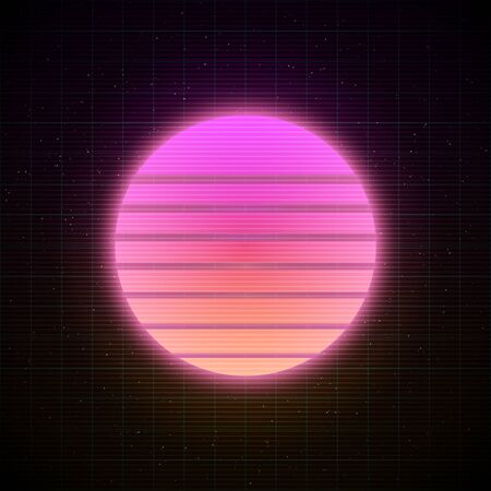 Retrowave style striped sun with pink and soft peachy yellow glowing in starry space with laser grid. Vaporwave, synthwave, retrowave illustration for poster, banner, flyer etc.