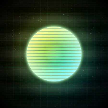 Retrowave style striped sun with yellow, green and blue glowing in starry space with laser grid. Vaporwave, synthwave, retrowave illustration for poster, banner, flyer etc.