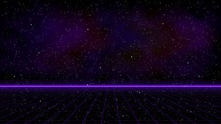Retrowave purple laser perspective grid with bright horizon line and space nebula on starry background. Retrofuturistic cyber landscape illustration in the style of 1980s. Illustration