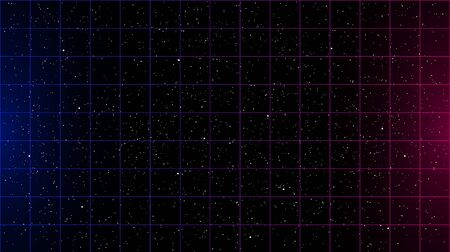 Retrowave blue pink gradient laser grid on starry space background with side lights. Vettoriali