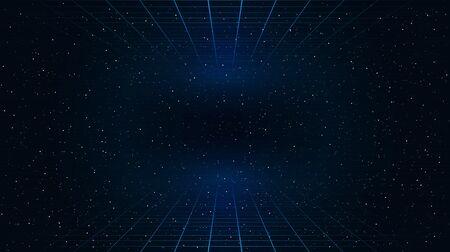Retrowave cuadrículas de perspectiva láser azul semitransparente en la parte superior e inferior en el fondo del espacio estrellado. Ilustración de paisaje cibernético retrofuturista.