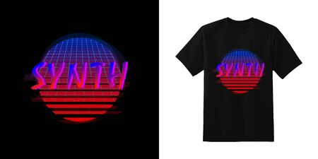 Synthwave. Stylish t-shirt and apparel retro design with SYNTH inscription on stripped circle with laser grid background. Typography, print, vector illustration.