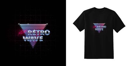 Newretrowave. Stylish t-shirt and apparel retro design with NewRetrowave metallic and neon inscription on blue and pink gradient triangle. Typography, print. Eps 10.