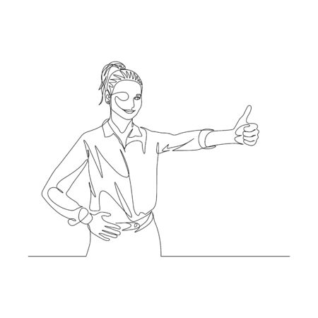 Continuous one line woman with ponytail in shirt shows thumb and smile. Big finger sign. Vector illustration. 일러스트