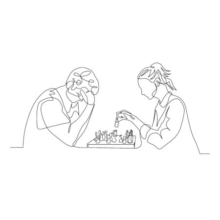 Continuous one line man and woman play chess. Man thinks, woman makes a move. Vector illustration.