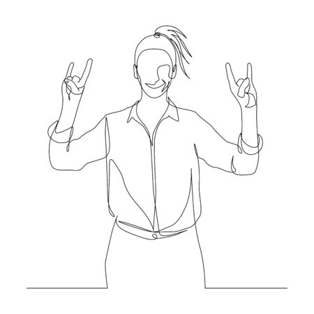 Continuous one line woman shows sign of the horns with two hands. Rock theme. Vector illustration.