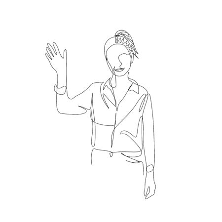 Continuous one line smiling woman waving hand. Vector illustration.