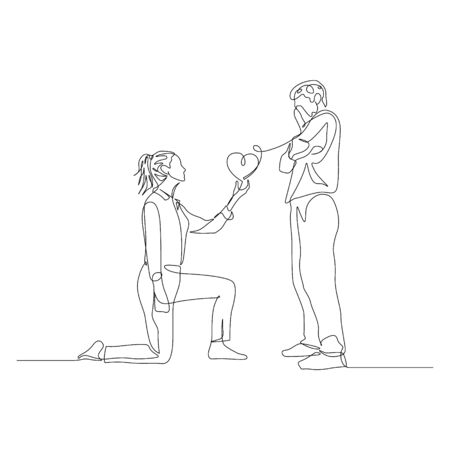 Continuous one line woman on her knee makes a wedding proposal to a man. Wedding and love theme. Vector illustration. Illustration