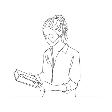 Continuous one line woman read book. Education theme. Vector illustration. Vettoriali