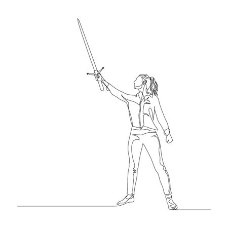 Continuous one line woman stand with a sword in her hand held high up. Heroic pose. Vector illustration. Ilustração