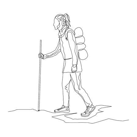 Viajero de mujer de una línea continua está caminando con una mochila de senderismo y un bastón. Tema de viaje y viaje. Ilustración de vector. Ilustración de vector