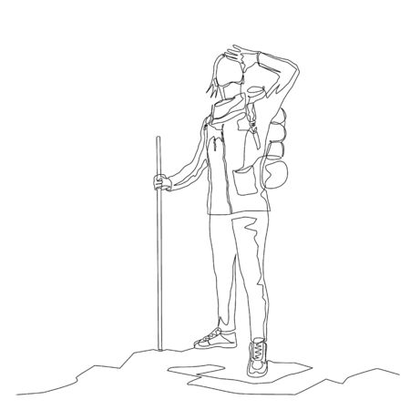 Continuous one line woman traveler looks around with hiking backpack and stick. Travel and journey theme. Vector illustration.