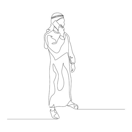 Continuous one line man in arabic clothes talking on smartphone. Vector stock illustration. Vektorové ilustrace