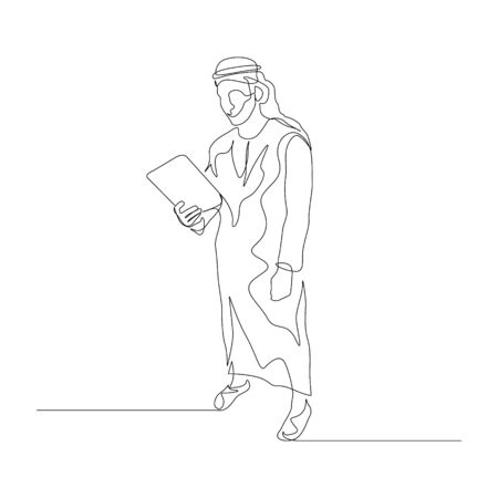 Continuous one line man in arabic clothes use tablet. Vector stock illustration.