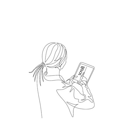 Continuous one line woman scrolls news feed on a tablet. Vector stock illustration.