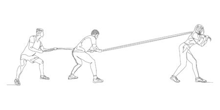 Continuous one line one woman pulls two men in tug of war. Feminism. Vector stock illustration.
