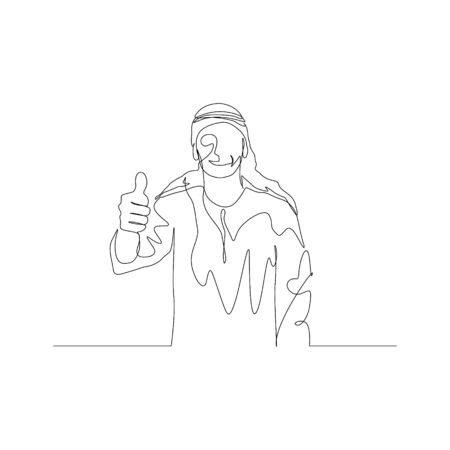 Continuous one line man in arabic clothes shows thumb. Vector stock illustration.