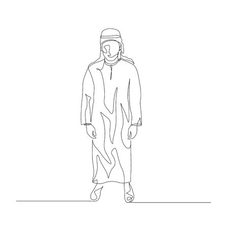 Continuous one line man in arabic clothing. Vector stock illustration. Vektorové ilustrace