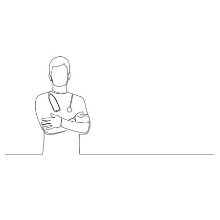 Continuous one line man doctor with phonendoscope stand with arms crossed. Vector stock illustration. Illusztráció