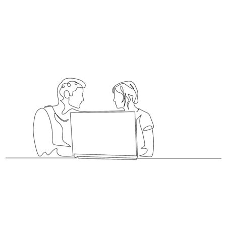 Continuous one line man and woman are sitting in front of a laptop and discussing something. Work or business meeting. Vector stock illustration. Illusztráció