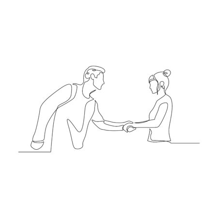 Continuous one line man shake hands with a woman. Vector stock illustration.
