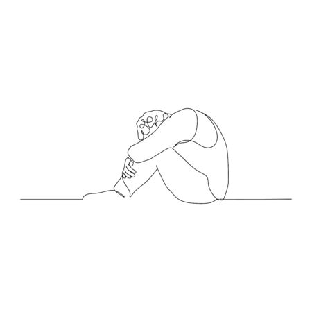 Continuous one line man sitting on the floor with her head bowed and hugging her knees with her hands. Vector stock illustration. Illustration