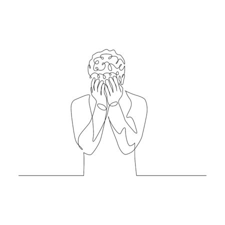 Continuous one line man covers her face with her hands. Depressed state. Vector stock illustration.