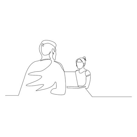 Continuous one line woman is interviewing a man. Job interview. Vector stock illustration.