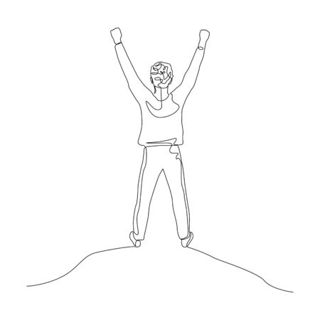 Continuous one line man with arms raised high. Achieving a goal, victory, success. Vector stock illustration.