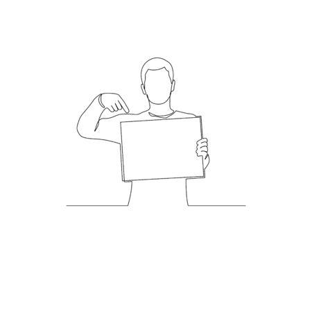 Continuous one line man with a sign points to copyspace. Vector stock illustration. Illusztráció