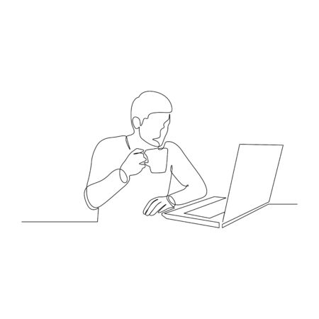 Continuous one line man with a drink in a mug in front of a laptop. Vector stock illustration. Illusztráció