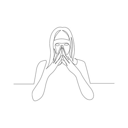 Continuous one line woman is plotting something. Conspiracy Planning. Vector stock illustration.