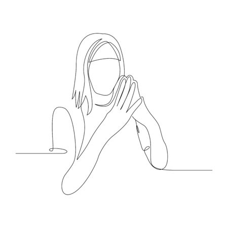 Continuous one line woman in a confident pose. Vector stock illustration.