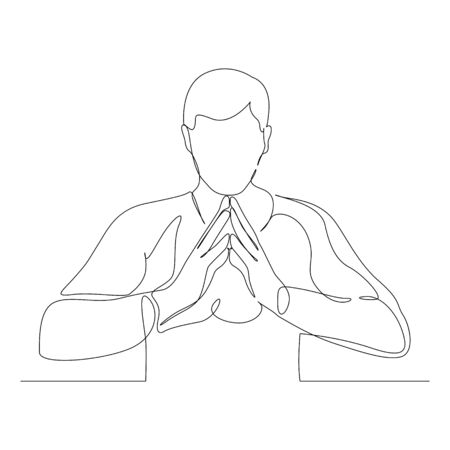 Continuous one line man in a confident pose. Vector stock illustration.