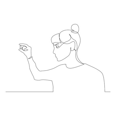 Continuous one line woman hold and look at the pill in her hand. Vector stock illustration.
