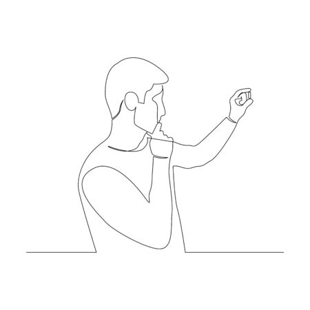 Continuous one line man hold and look at the pill in her hand. Vector stock illustration.