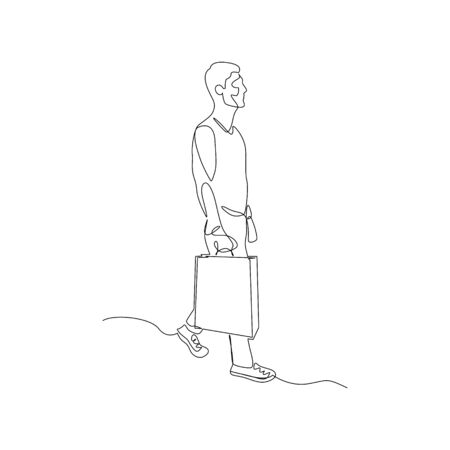 Continuous one line man after shopping with a package. Vector stock illustration.