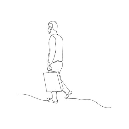 Continuous one line man after shopping with a package. Vector illustration. Illusztráció