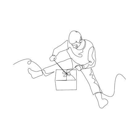 Continuous one line man on the floor opens a gift box. Christmas and New Year theme. Vector stock illustration.