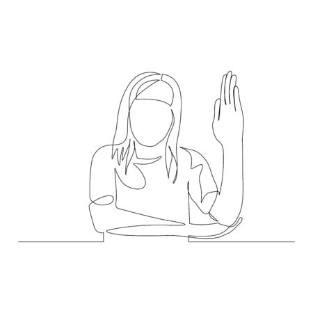 Continuous one line woman pull her hand up, want to answer a question. Vector stock illustration.