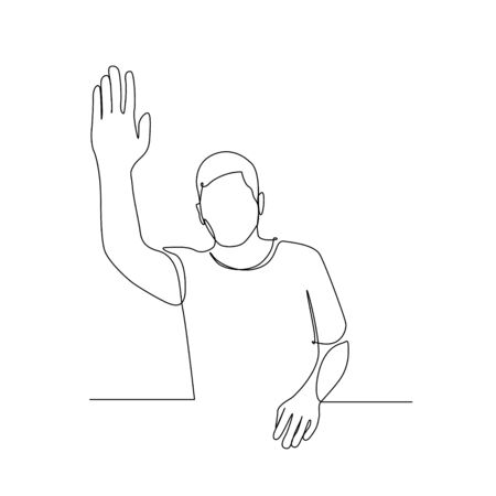 Continuous one line man pull her hand up, want to answer a question. Vector illustration.