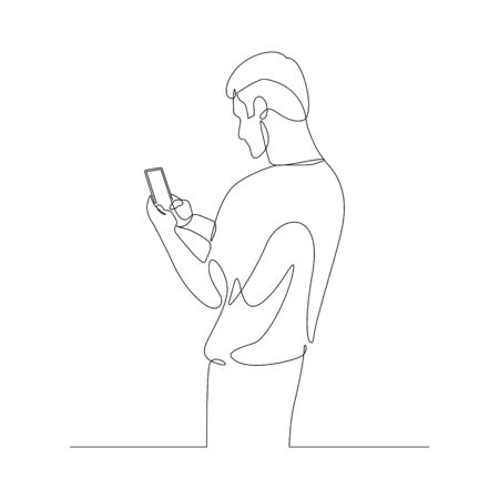 Continuous one line man chatting with a smartphone, spending time in a smartphone. Rear view. Stock vector illustration.